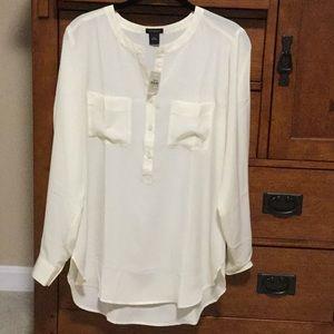 Ann Taylor cream color dressy blouse